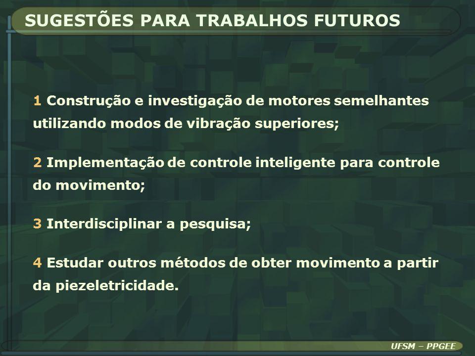 SUGESTÕES PARA TRABALHOS FUTUROS UFSM – PPGEE 1 Construção e investigação de motores semelhantes utilizando modos de vibração superiores; 2 Implementa