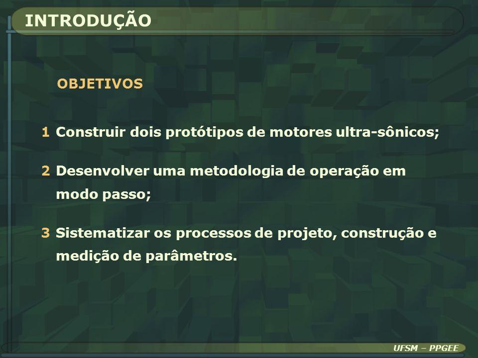 INTRODUÇÃO OBJETIVOS 1Construir dois protótipos de motores ultra-sônicos; 2Desenvolver uma metodologia de operação em modo passo; 3Sistematizar os pro