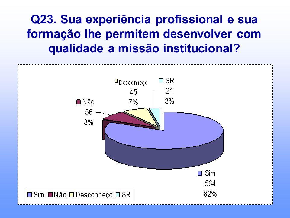 Q23. Sua experiência profissional e sua formação lhe permitem desenvolver com qualidade a missão institucional?