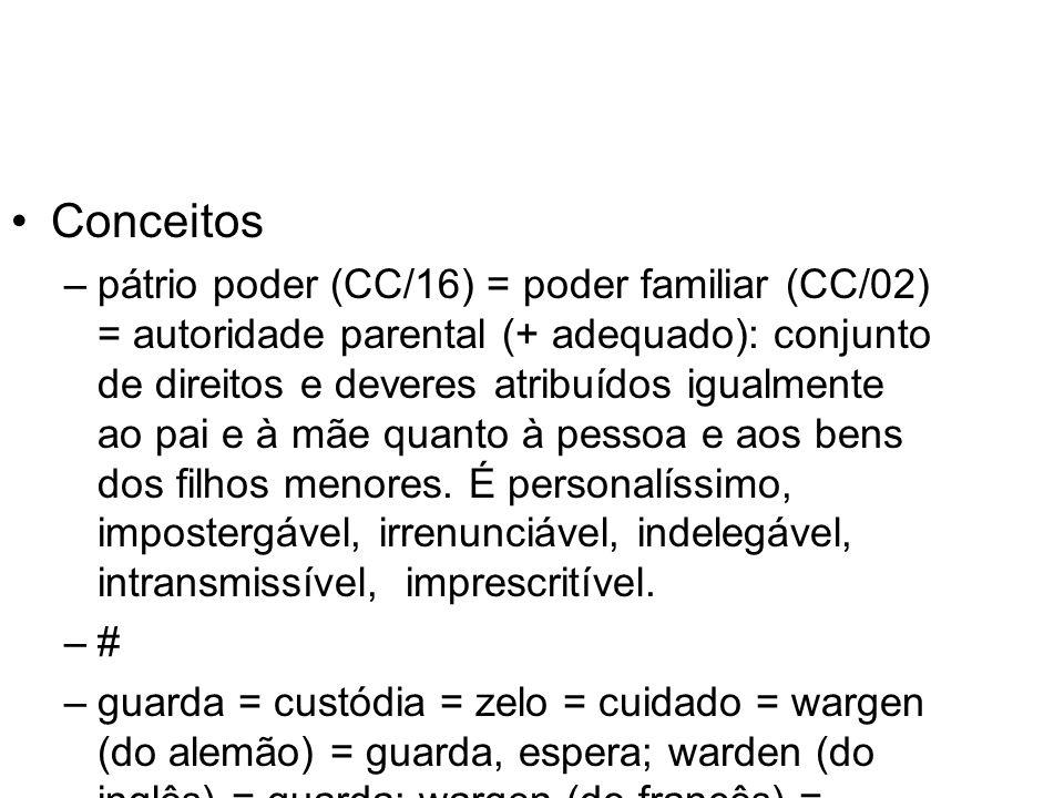 Conceitos –pátrio poder (CC/16) = poder familiar (CC/02) = autoridade parental (+ adequado): conjunto de direitos e deveres atribuídos igualmente ao p