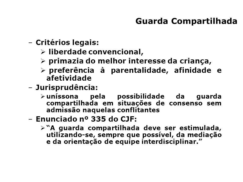 –Critérios legais: liberdade convencional, primazia do melhor interesse da criança, preferência à parentalidade, afinidade e afetividade –Jurisprudênc