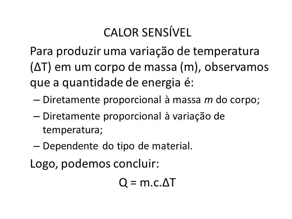 CALOR SENSÍVEL Para produzir uma variação de temperatura (T) em um corpo de massa (m), observamos que a quantidade de energia é: – Diretamente proporcional à massa m do corpo; – Diretamente proporcional à variação de temperatura; – Dependente do tipo de material.