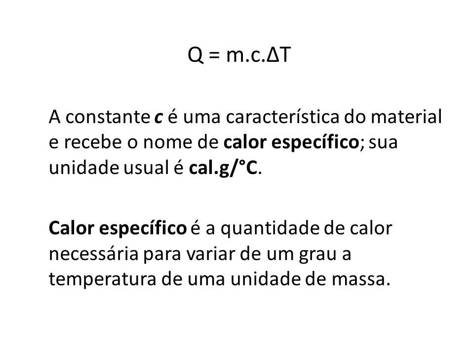 A constante c é uma característica do material e recebe o nome de calor específico; sua unidade usual é cal.g/°C.