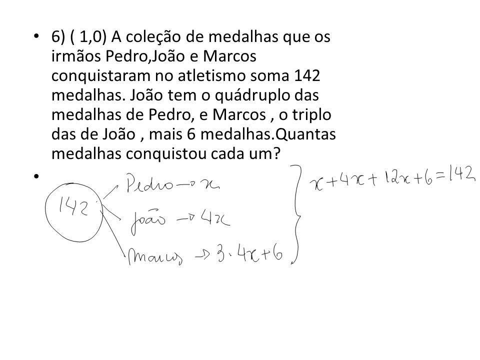 6) ( 1,0) A coleção de medalhas que os irmãos Pedro,João e Marcos conquistaram no atletismo soma 142 medalhas.