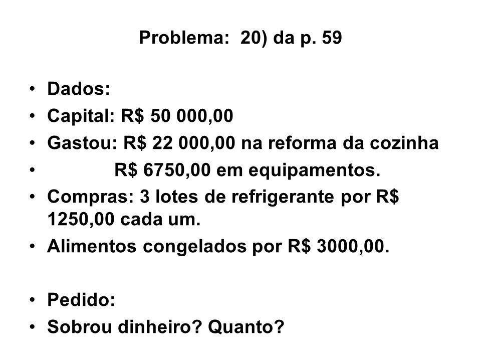 Problema: 20) da p. 59 Dados: Capital: R$ 50 000,00 Gastou: R$ 22 000,00 na reforma da cozinha R$ 6750,00 em equipamentos. Compras: 3 lotes de refrige