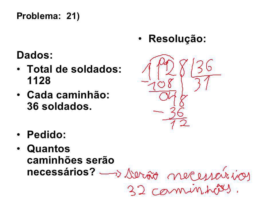 Problema: 21) Dados: Total de soldados: 1128 Cada caminhão: 36 soldados. Pedido: Quantos caminhões serão necessários? Resolução: