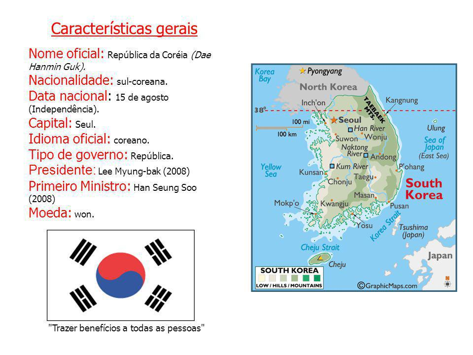Características gerais Nome oficial: República da Coréia (Dae Hanmin Guk). Nacionalidade: sul-coreana. Data nacional: 15 de agosto (Independência). Ca