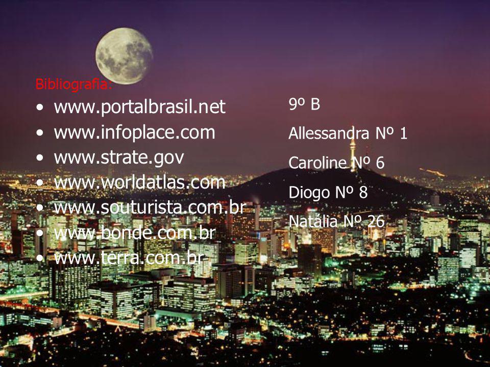 Bibliografia: www.portalbrasil.net www.infoplace.com www.strate.gov www.worldatlas.com www.souturista.com.br www.bonde.com.br www.terra.com.br 9º B Al