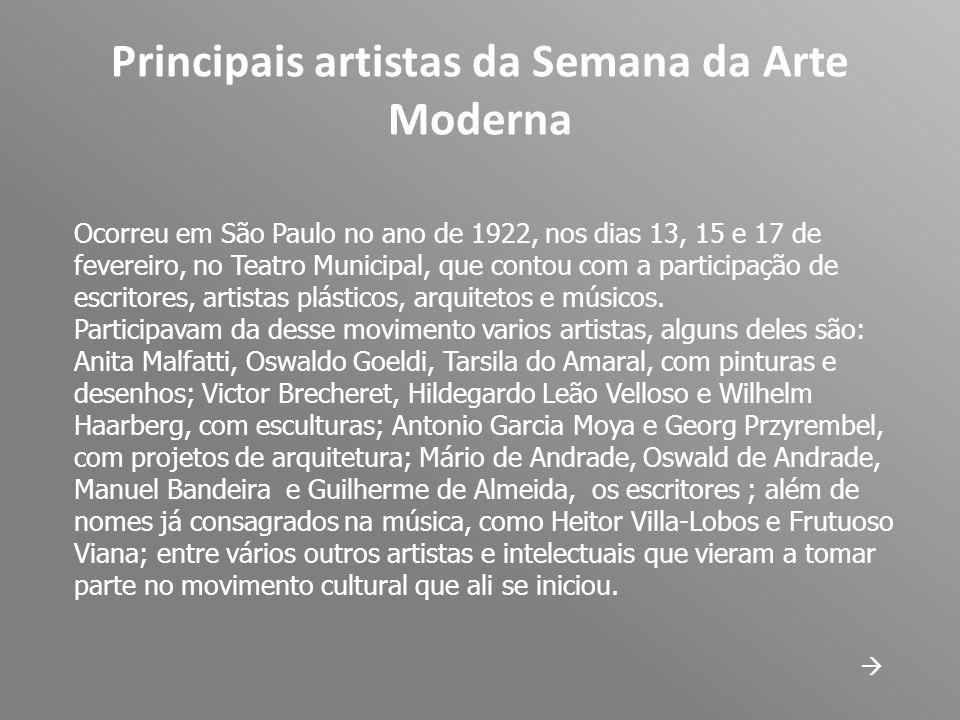 Principais artistas da Semana da Arte Moderna Ocorreu em São Paulo no ano de 1922, nos dias 13, 15 e 17 de fevereiro, no Teatro Municipal, que contou