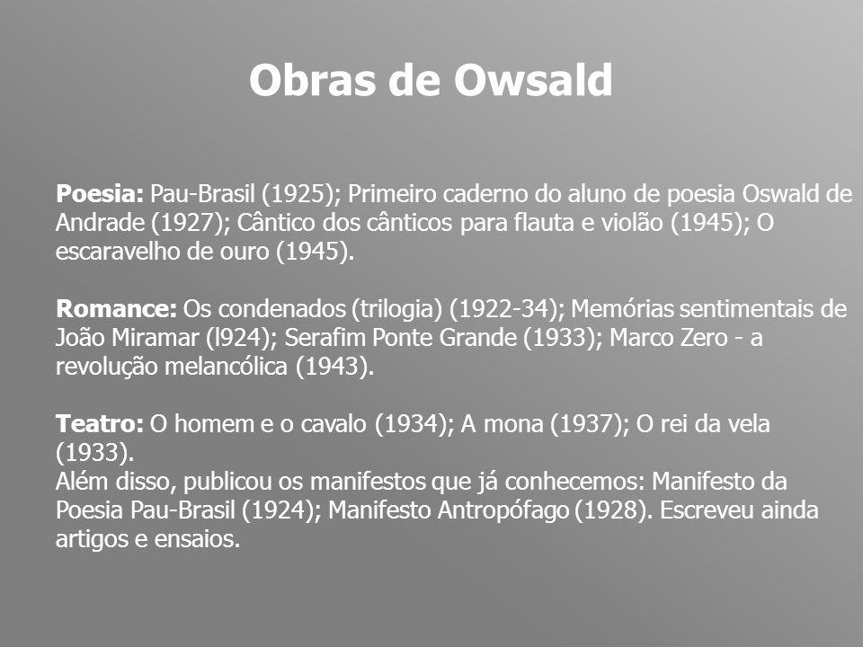 Obras de Owsald Poesia: Pau-Brasil (1925); Primeiro caderno do aluno de poesia Oswald de Andrade (1927); Cântico dos cânticos para flauta e violão (19
