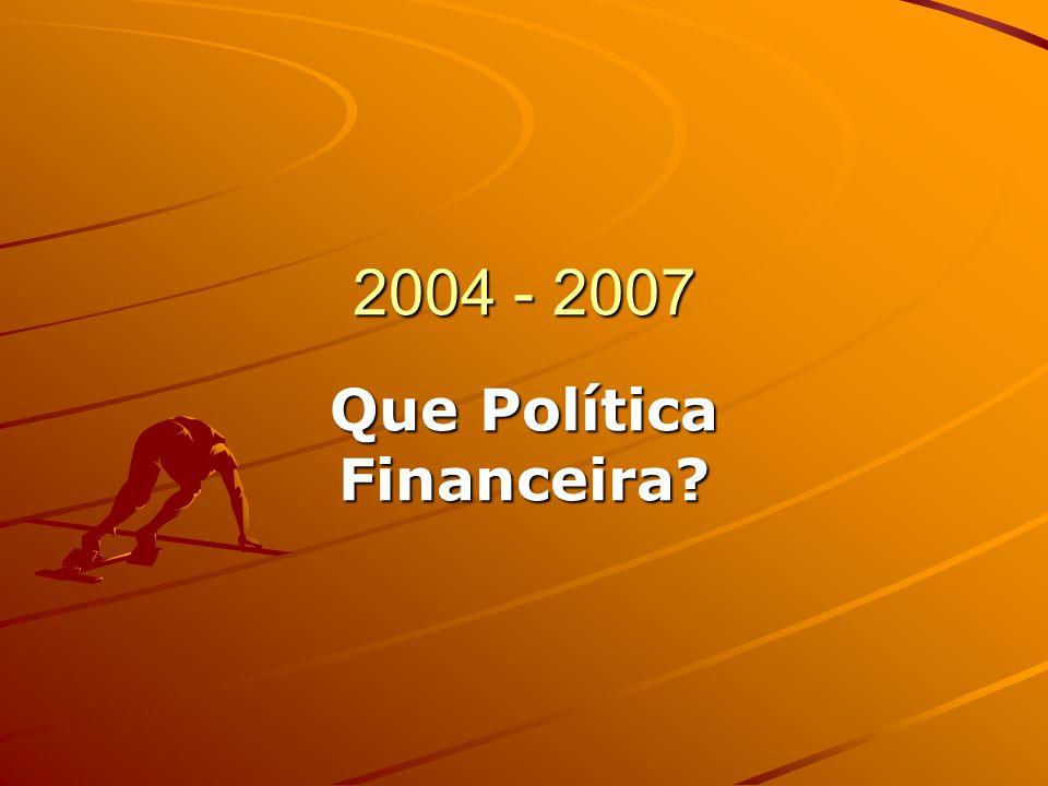 2004 - 2007 Que Política Financeira?