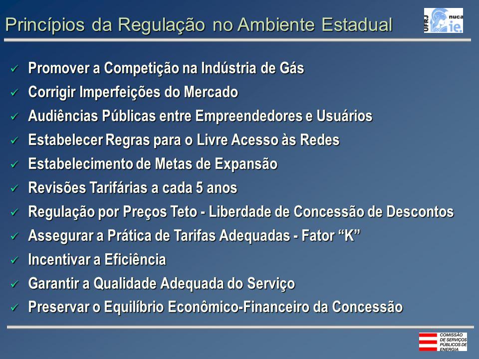 Princípios da Regulação no Ambiente Estadual Promover a Competição na Indústria de Gás Promover a Competição na Indústria de Gás Corrigir Imperfeições