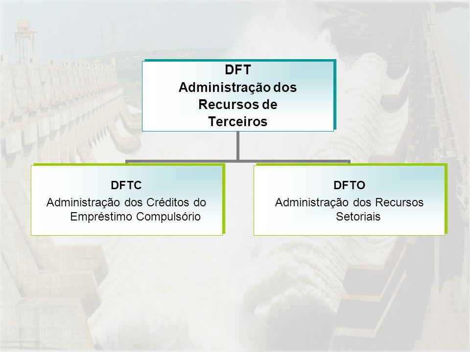 DFT Administração dos Recursos de Terceiros DFTC Administração dos Créditos do Empréstimo Compulsório DFTO Administração dos Recursos Setoriais