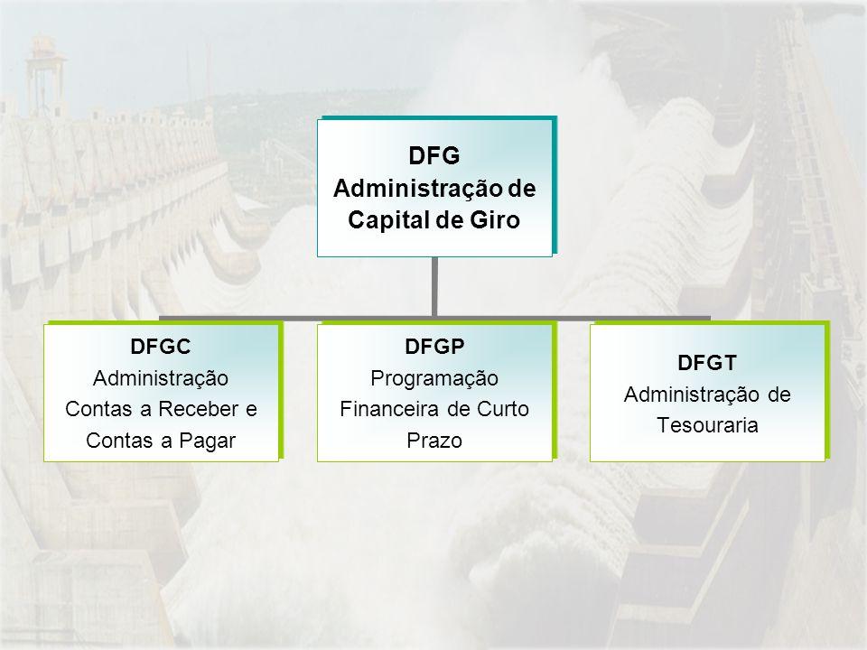DFG Administração de Capital de Giro DFGC Administração Contas a Receber e Contas a Pagar DFGP Programação Financeira de Curto Prazo DFGT Administração de Tesouraria