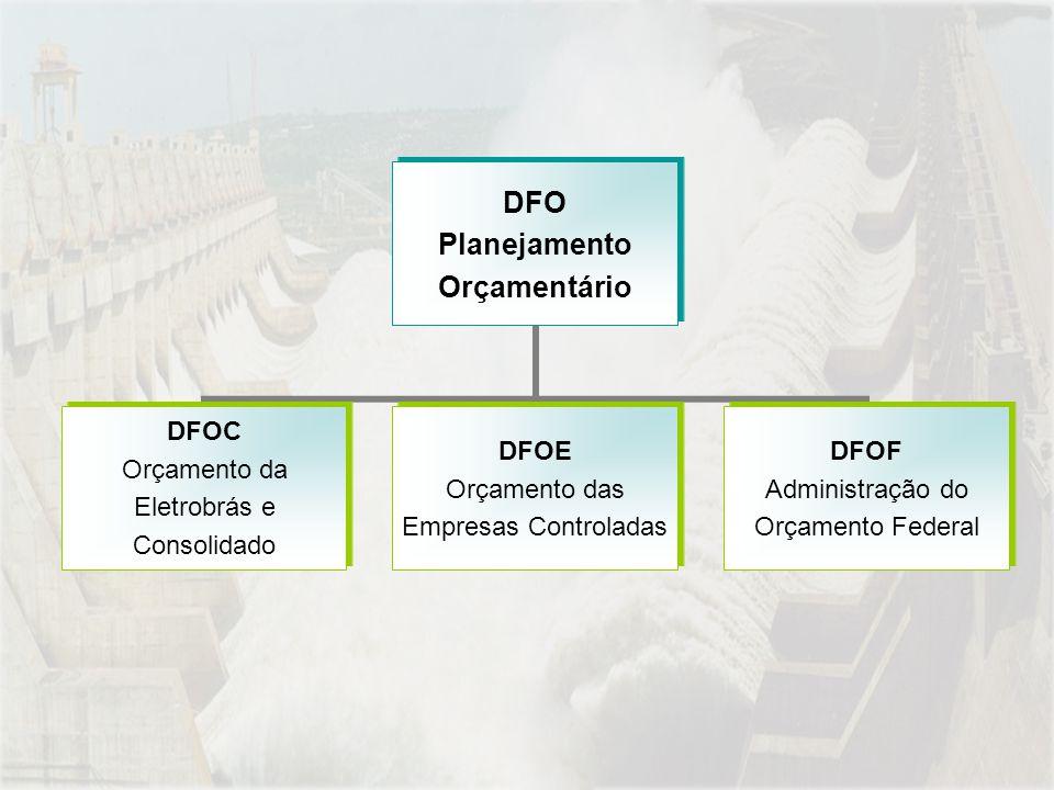 DFO Planejamento Orçamentário DFOC Orçamento da Eletrobrás e Consolidado DFOE Orçamento das Empresas Controladas DFOF Administração do Orçamento Feder