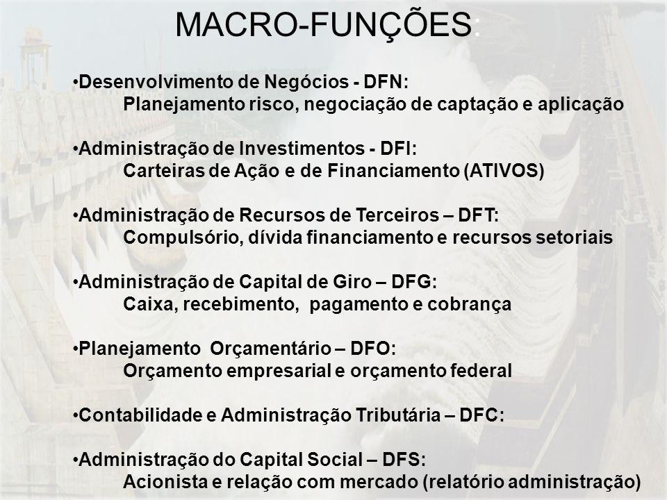Desenvolvimento de Negócios - DFN: Planejamento risco, negociação de captação e aplicação Administração de Investimentos - DFI: Carteiras de Ação e de Financiamento (ATIVOS) Administração de Recursos de Terceiros – DFT: Compulsório, dívida financiamento e recursos setoriais Administração de Capital de Giro – DFG: Caixa, recebimento, pagamento e cobrança Planejamento Orçamentário – DFO: Orçamento empresarial e orçamento federal Contabilidade e Administração Tributária – DFC: Administração do Capital Social – DFS: Acionista e relação com mercado (relatório administração) MACRO-FUNÇÕES:
