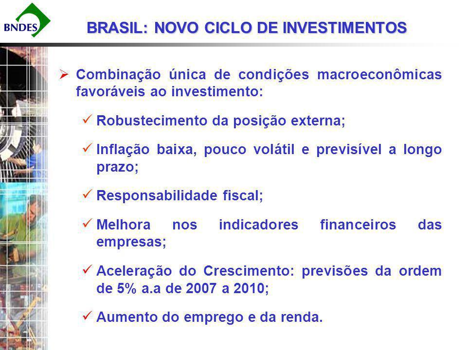 BNDES – PRINCIPAL INSTRUMENTO DE POLÍTICA DE DESENVOLVIMENTO Maior banco de crédito do Brasil com 18% do mercado em 2006; Banco de longo prazo para investimentos em ativos fixos na indústria e infra-estrutura; O prazo médio dos financiamentos do BNDES às empresas em 2006 foi de 6,2 anos; Atuação complementar à dos bancos comerciais, mais voltados para operações de curto prazo.