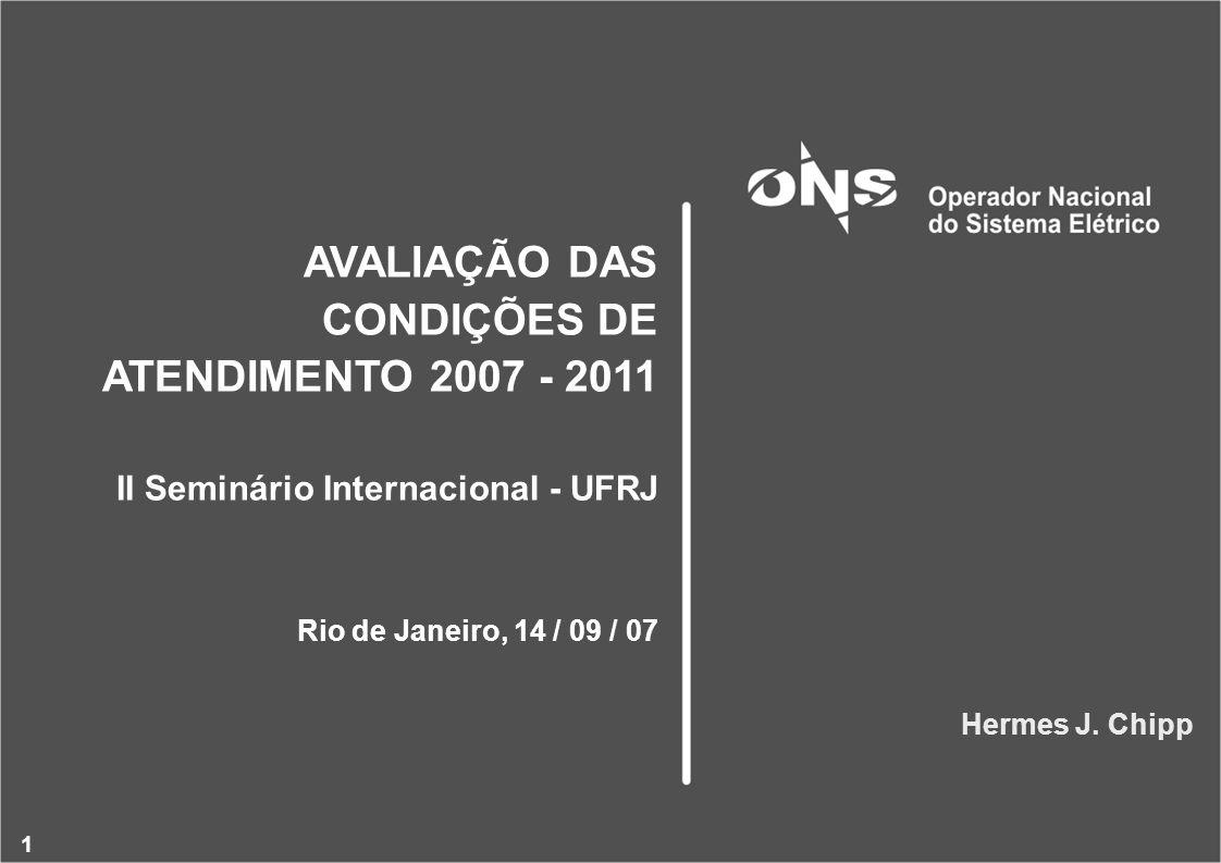1 AVALIAÇÃO DAS CONDIÇÕES DE ATENDIMENTO 2007 - 2011 II Seminário Internacional - UFRJ Rio de Janeiro, 14 / 09 / 07 Hermes J.
