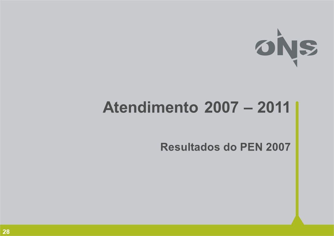 28 Atendimento 2007 – 2011 Resultados do PEN 2007