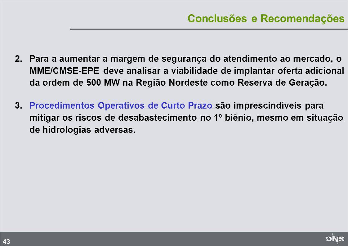 43 Conclusões e Recomendações 2.Para a aumentar a margem de segurança do atendimento ao mercado, o MME/CMSE-EPE deve analisar a viabilidade de implantar oferta adicional da ordem de 500 MW na Região Nordeste como Reserva de Geração.