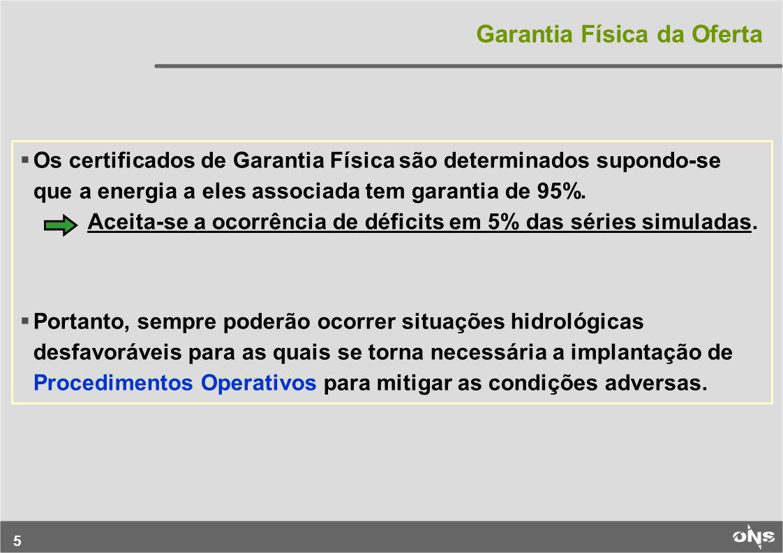5 Os certificados de Garantia Física são determinados supondo-se que a energia a eles associada tem garantia de 95%.