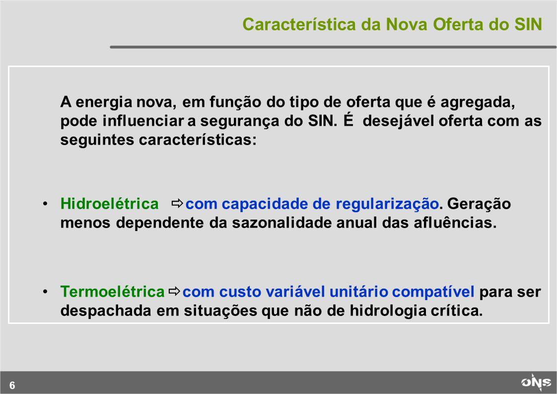 6 A energia nova, em função do tipo de oferta que é agregada, pode influenciar a segurança do SIN.