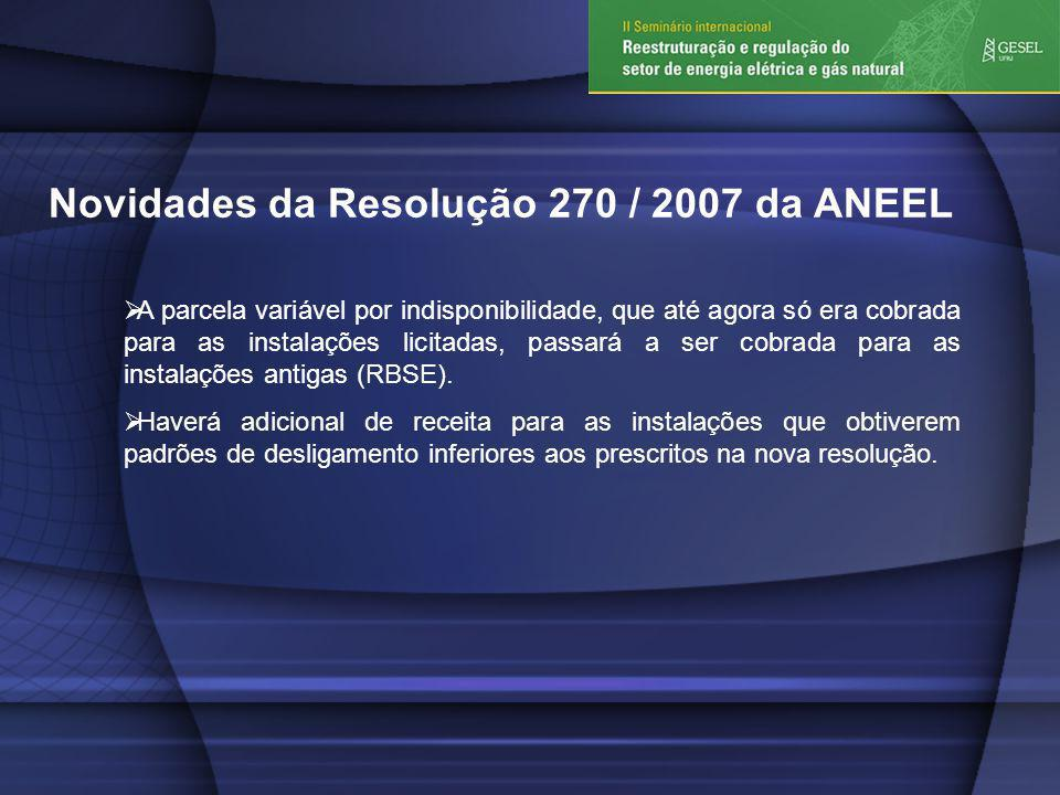 Novidades da Resolução 270 / 2007 da ANEEL A parcela variável por indisponibilidade, que até agora só era cobrada para as instalações licitadas, passará a ser cobrada para as instalações antigas (RBSE).