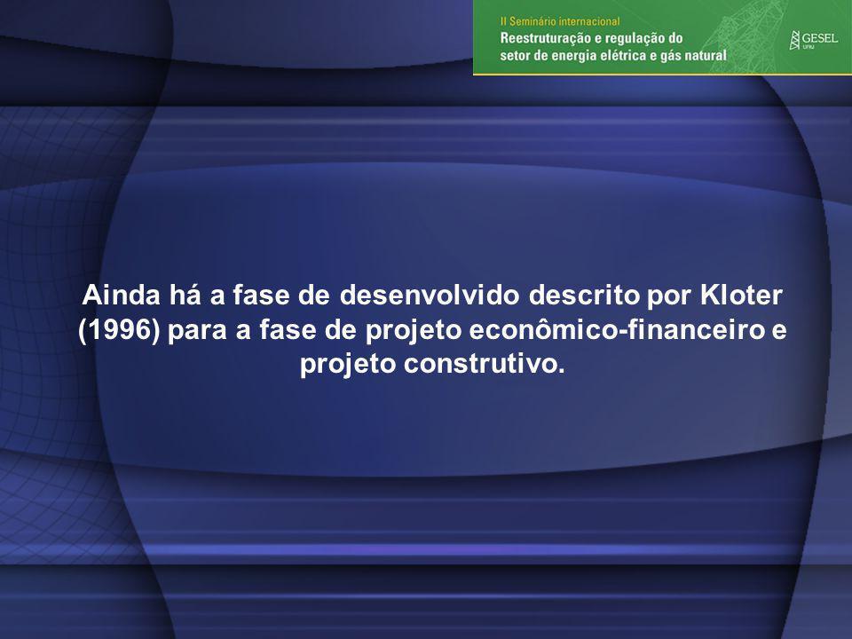 Ainda há a fase de desenvolvido descrito por Kloter (1996) para a fase de projeto econômico-financeiro e projeto construtivo.