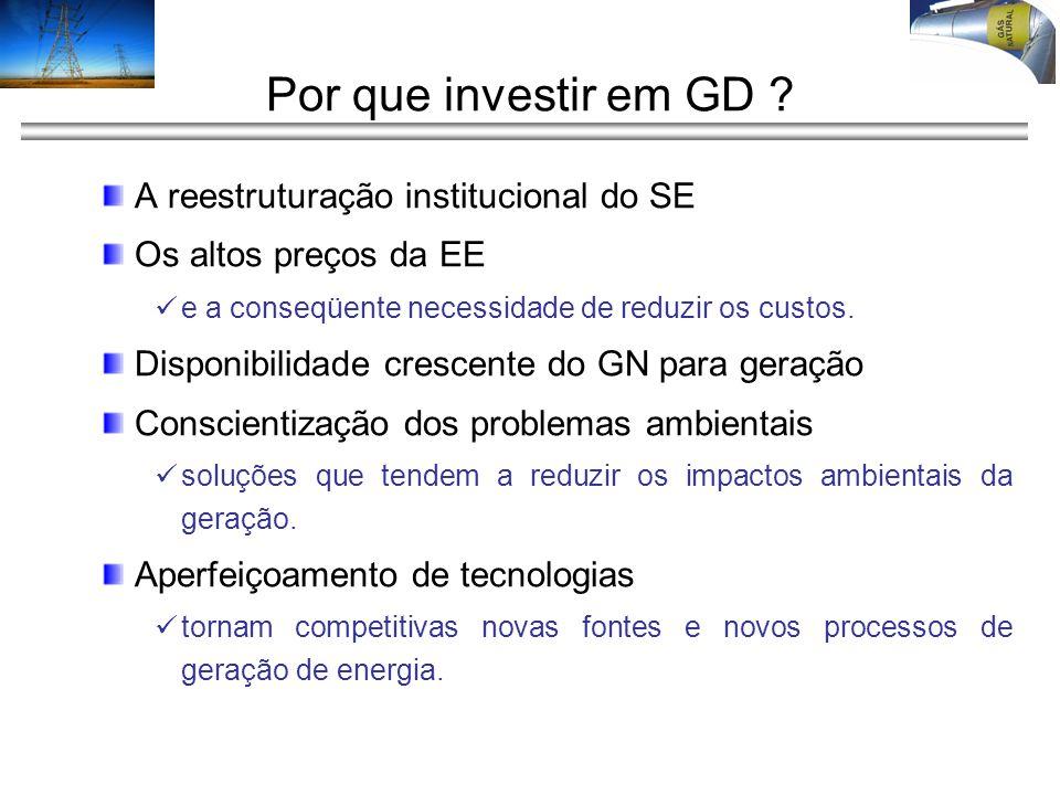Por que investir em GD ? A reestruturação institucional do SE Os altos preços da EE e a conseqüente necessidade de reduzir os custos. Disponibilidade