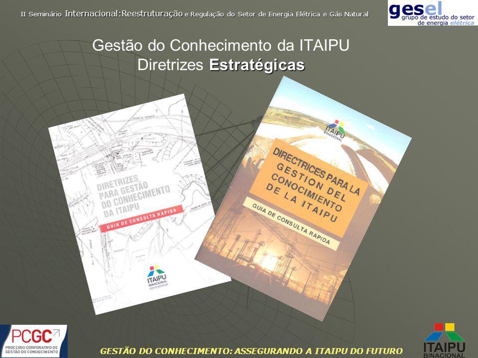 GESTÃO DO CONHECIMENTO: ASSEGURANDO A ITAIPU DO FUTURO Estratégicas Gestão do Conhecimento da ITAIPU Diretrizes Estratégicas II Seminário Internaciona