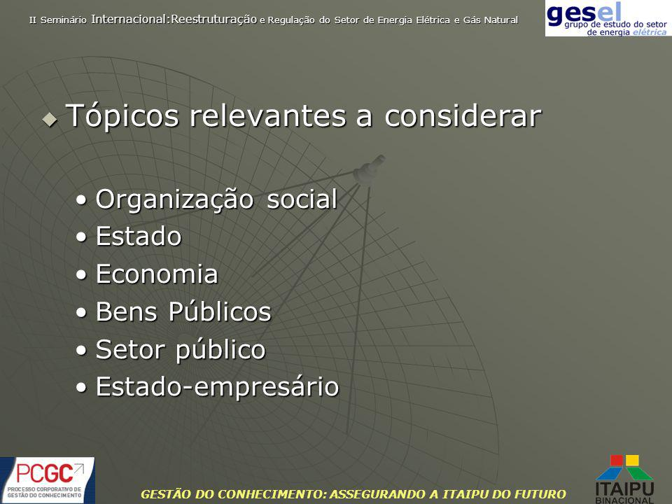 GESTÃO DO CONHECIMENTO: ASSEGURANDO A ITAIPU DO FUTURO Tópicos relevantes a considerar Tópicos relevantes a considerar Organização socialOrganização s