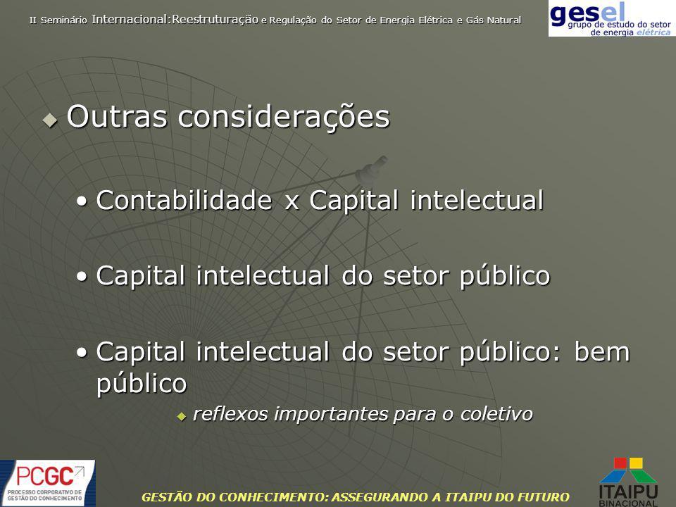 GESTÃO DO CONHECIMENTO: ASSEGURANDO A ITAIPU DO FUTURO Outras considerações Outras considerações Contabilidade x Capital intelectualContabilidade x Ca