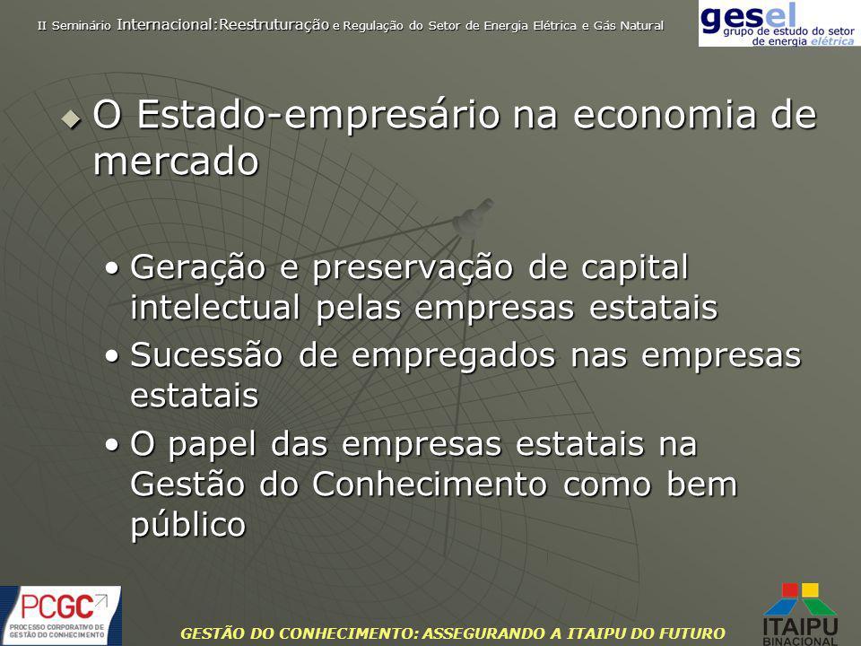 GESTÃO DO CONHECIMENTO: ASSEGURANDO A ITAIPU DO FUTURO O Estado-empresário na economia de mercado O Estado-empresário na economia de mercado Geração e