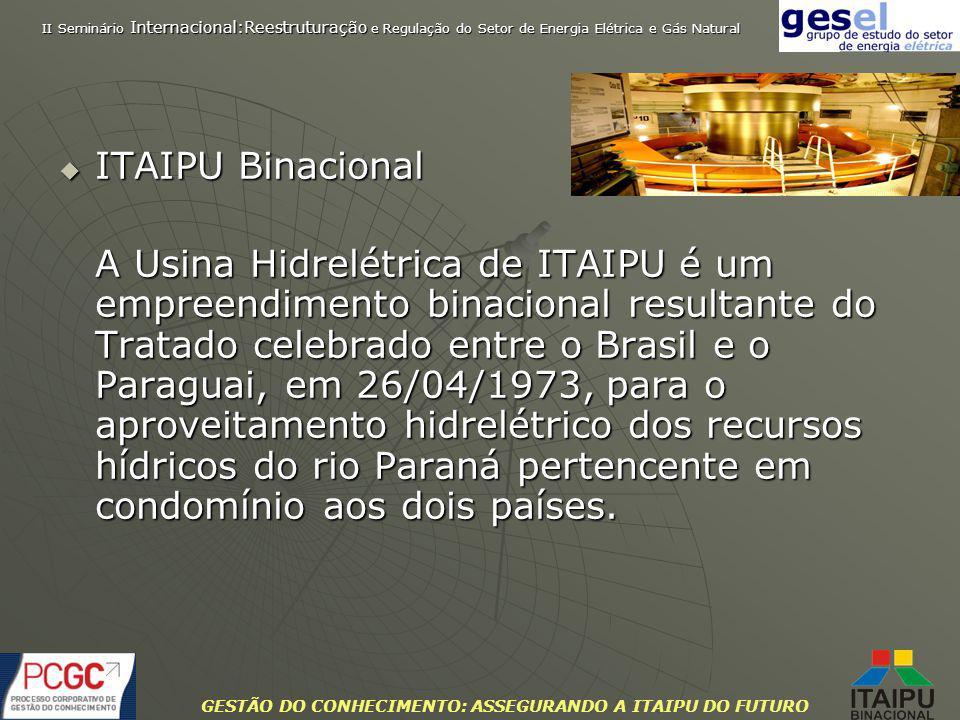 GESTÃO DO CONHECIMENTO: ASSEGURANDO A ITAIPU DO FUTURO -Rio Paraná -Potência instalada de 14.000 MW (megawatts) -20 unidades geradoras com 700 MW cada -Responsável pelo suprimento de 90% da energia consumida no Paraguai e 20% no Brasil -Faturamento de 3,2 bilhões de dólares (2007) -Reservatório com área de 135 mil hectares e 170 km de comprimento -Áreas de proteção com mais de 100 mil hectares -Queda bruta normal de 120 metros -Lâmina d´água de 180 metros junto à barragem -Vertedouro de 62.200 m 3 /segundo de capacidade máxima de descarga Itaipu Binacional Empreendimento binacional Brasil e Paraguai Brasil e Paraguai II Seminário Internacional:Reestruturação e Regulação do Setor de Energia Elétrica e Gás Natural A ITAIPU REALIZA DIVERSOS PROGRAMAS SOCIOAMBIENTAIS