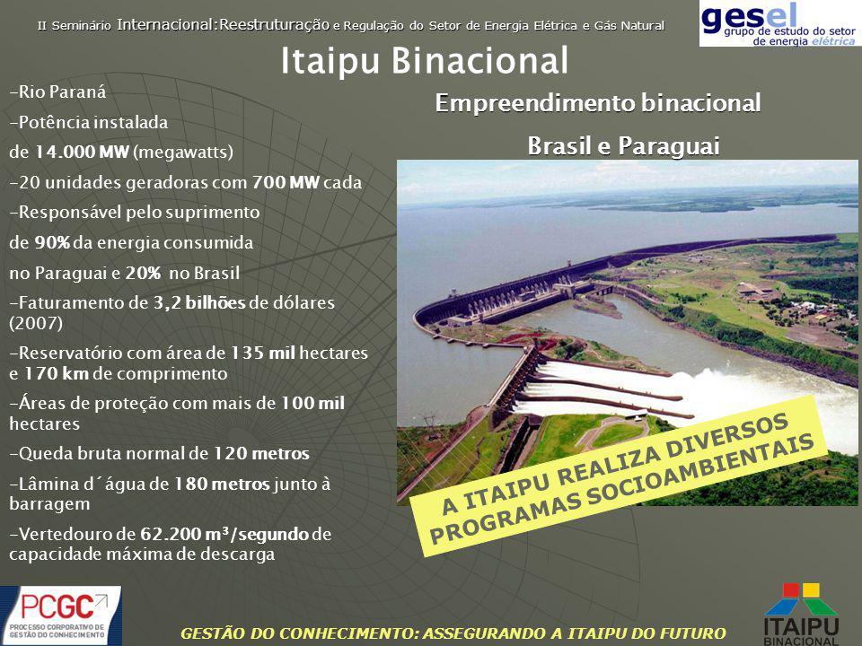 GESTÃO DO CONHECIMENTO: ASSEGURANDO A ITAIPU DO FUTURO -Rio Paraná -Potência instalada de 14.000 MW (megawatts) -20 unidades geradoras com 700 MW cada