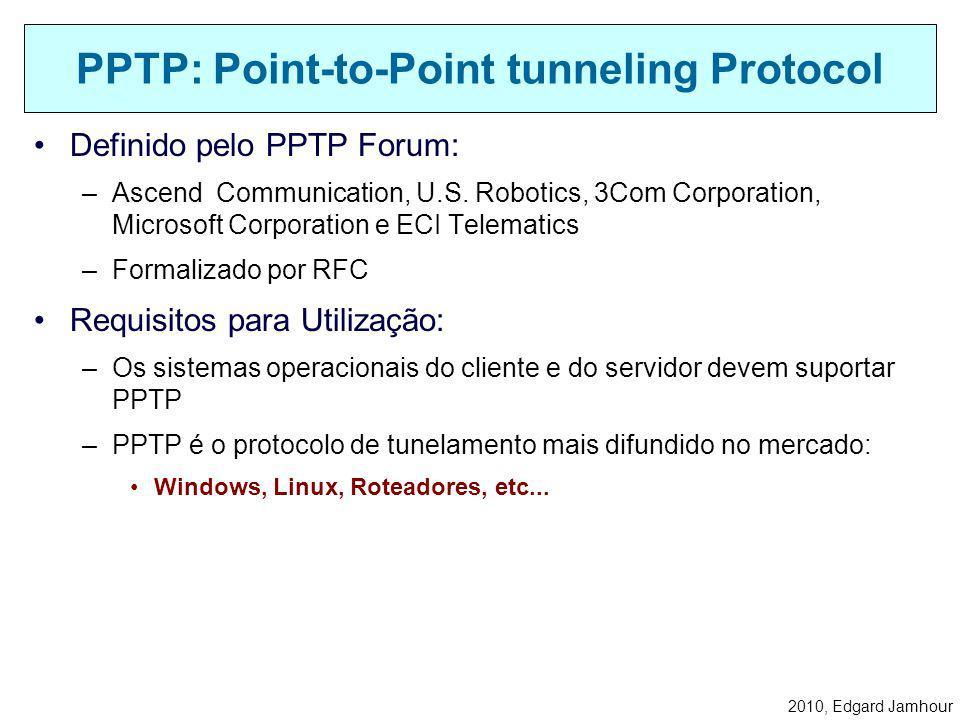 2010, Edgard Jamhour Link Control Protocols (LCP) –Configura parâmetros do link como tamanho dos quadros. Protocolos de Autenticação –Determina o méto