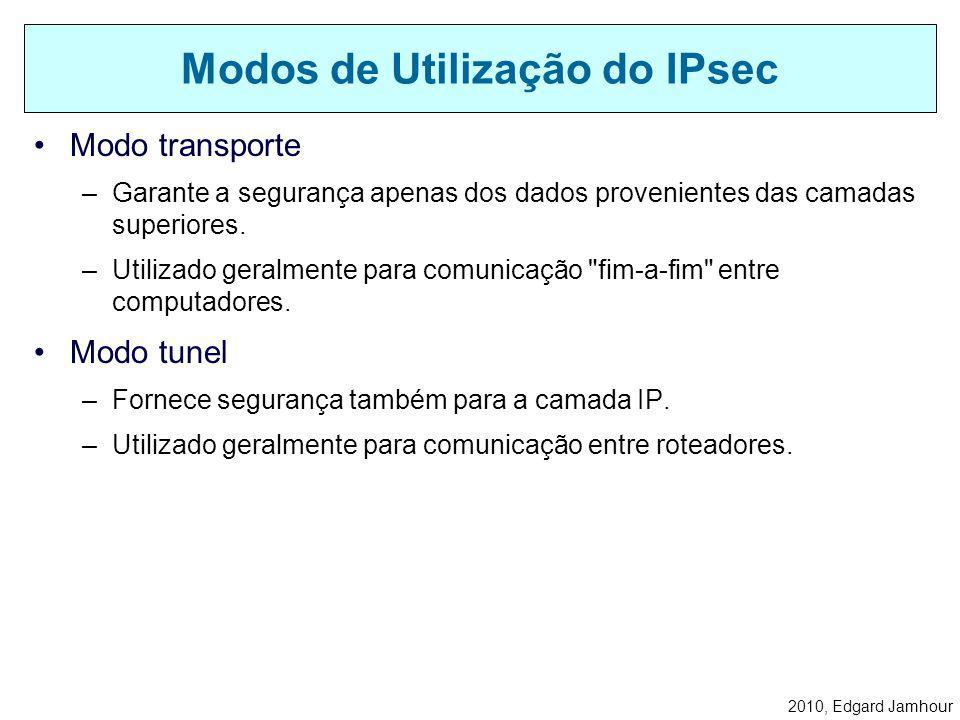 2010, Edgard Jamhour Padrão aberto baseado em RFC (IETF). –Comunicação segura em camada 3 (IPv4 e IPv6) –Provê recursos de segurança sobre redes IP: A