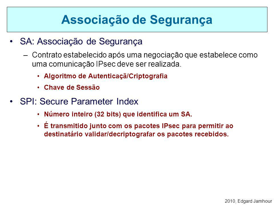 2010, Edgard Jamhour Uma vez definida uma política comum a ambos os computadores, uma associação de segurança (SA) é criada para lembrar as condições