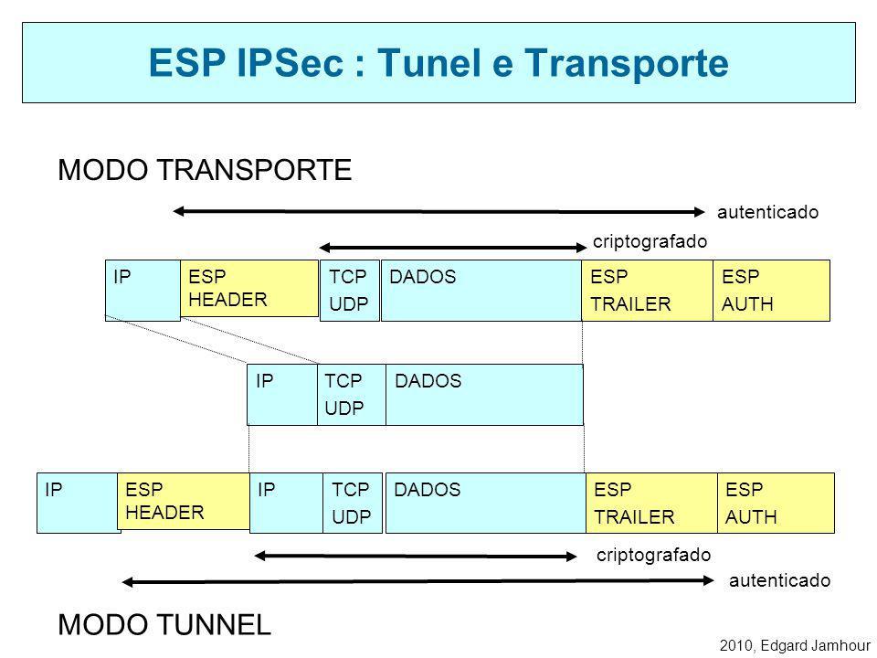 2010, Edgard Jamhour Definido pelo protocolo IP tipo 50 Utilizando para criar canais seguros com autenticação, integridade e criptografia. Além da cri