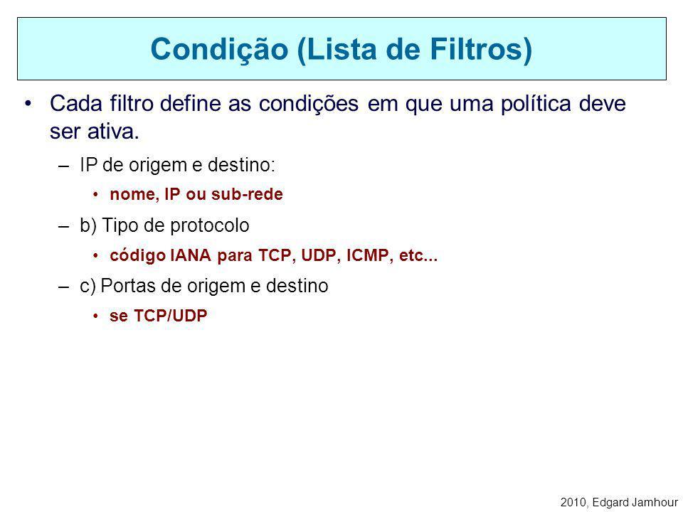 2010, Edgard Jamhour Elementos para Configuração do IPsec Ações (Ação de Filtro) Condições (Lista de Filtros) Política IPsec Regra de Política Lista d