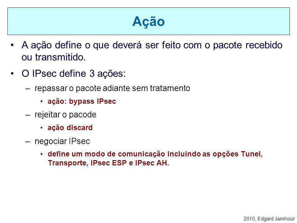 2010, Edgard Jamhour Cada filtro define as condições em que uma política deve ser ativa. –IP de origem e destino: nome, IP ou sub-rede –b) Tipo de pro