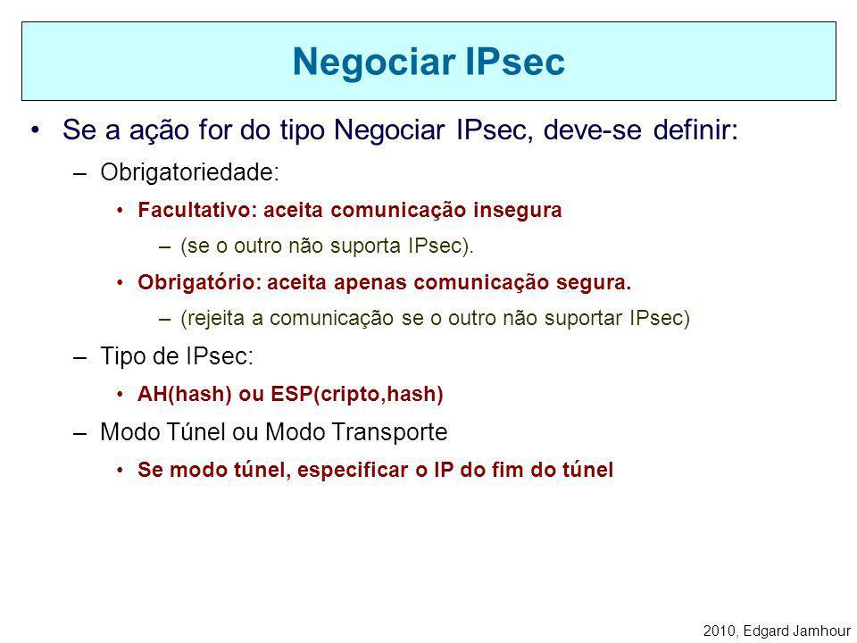 2010, Edgard Jamhour Ações IPsec na Recepção Discard Bypass Regras IPsec verifica assinaturas decriptografa IPsec Driver Enlace IP IPsec AH IP Negocia