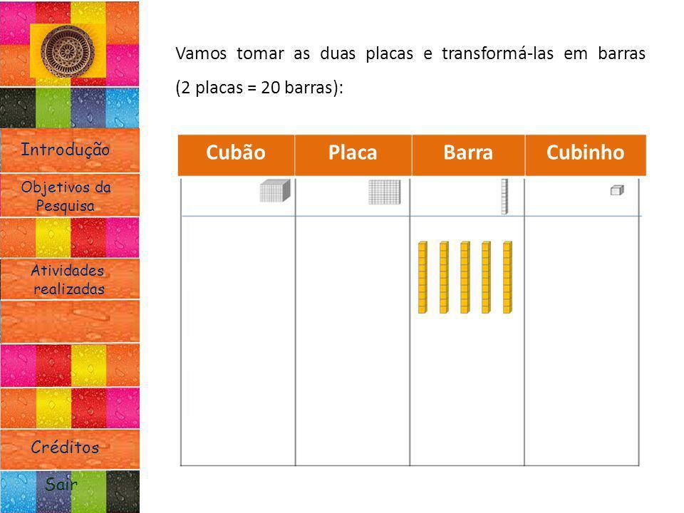 Introdução Atividades realizadas Objetivos da Pesquisa Sair Créditos Vamos tomar as duas placas e transformá-las em barras (2 placas = 20 barras): Cub
