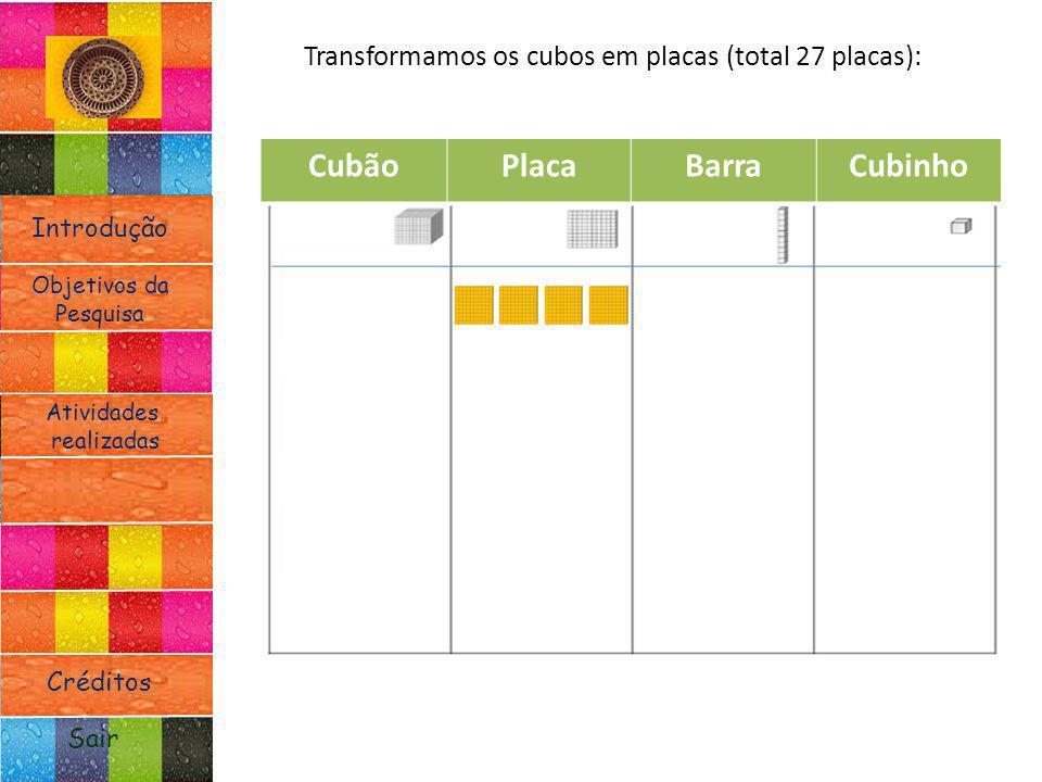 Introdução Atividades realizadas Objetivos da Pesquisa Sair Créditos Transformamos os cubos em placas (total 27 placas): CubãoPlacaBarraCubinho