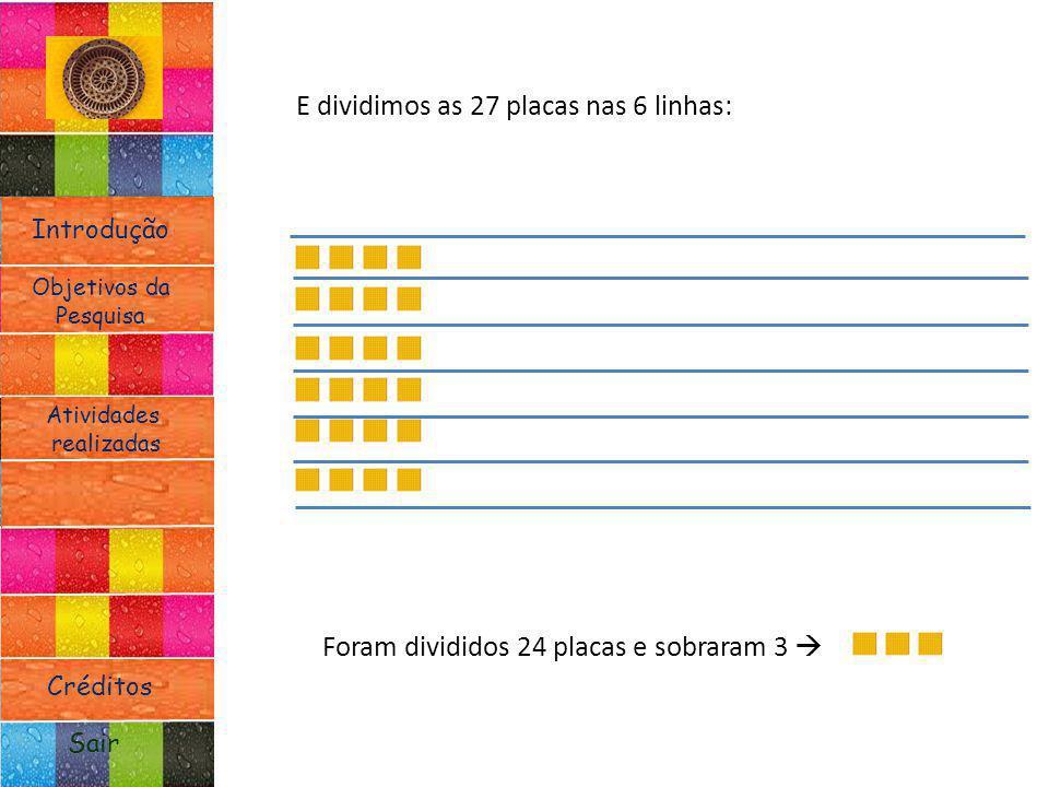 Introdução Atividades realizadas Objetivos da Pesquisa Sair Créditos E dividimos as 27 placas nas 6 linhas: Foram divididos 24 placas e sobraram 3