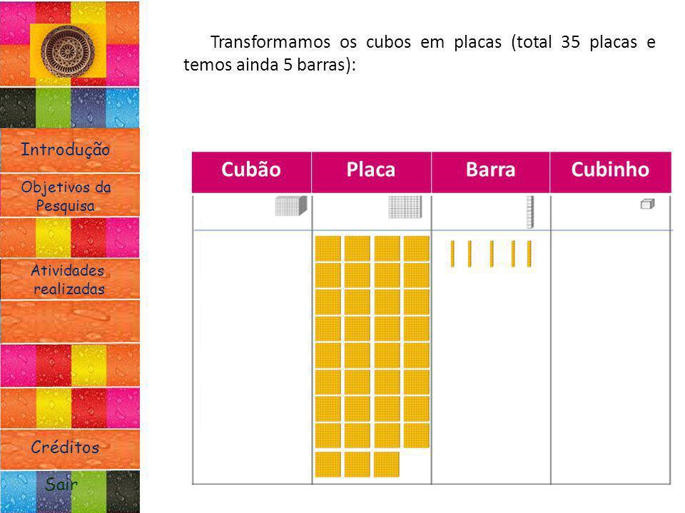 Introdução Atividades realizadas Objetivos da Pesquisa Sair Créditos Transformamos os cubos em placas (total 35 placas e temos ainda 5 barras): CubãoP