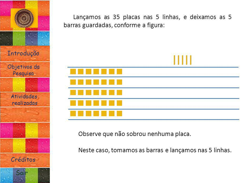 Introdução Atividades realizadas Objetivos da Pesquisa Sair Créditos Lançamos as 35 placas nas 5 linhas, e deixamos as 5 barras guardadas, conforme a