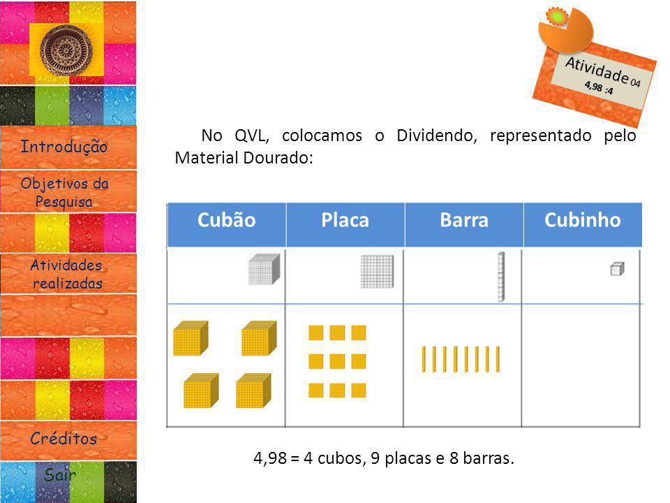 Introdução Atividades realizadas Objetivos da Pesquisa Sair Créditos No QVL, colocamos o Dividendo, representado pelo Material Dourado: 4,98 = 4 cubos