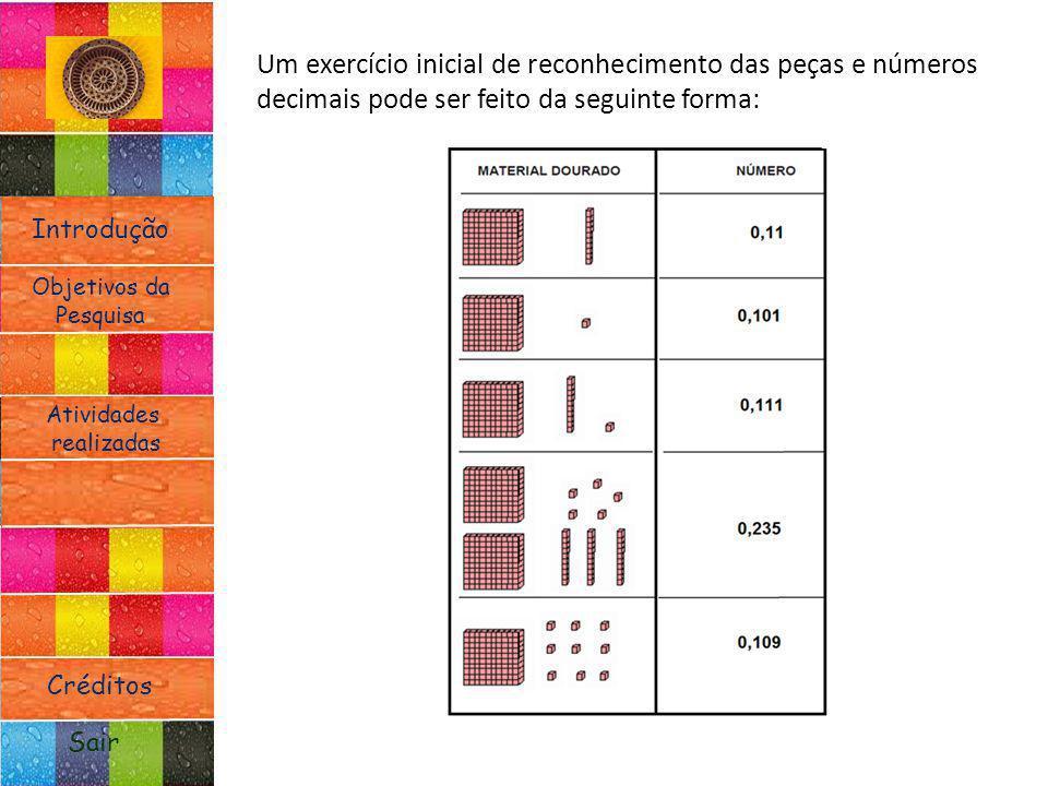 Introdução Atividades realizadas Objetivos da Pesquisa Sair Créditos Um exercício inicial de reconhecimento das peças e números decimais pode ser feit