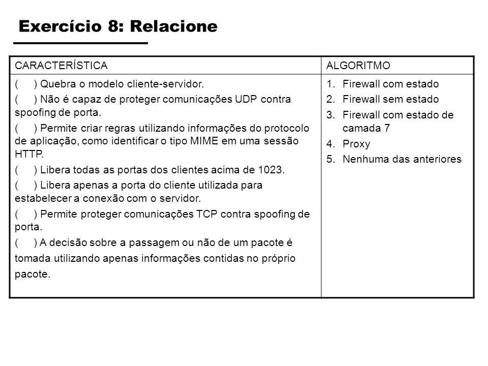 Exercício 8: Relacione CARACTERÍSTICAALGORITMO ( ) Quebra o modelo cliente-servidor. ( ) Não é capaz de proteger comunicações UDP contra spoofing de p